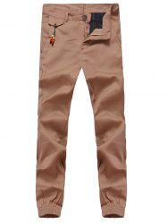 Beading Embellished Zipper Fly Chino Jogger Pants - KHAKI 2XL
