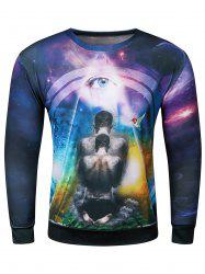 3D Starry Sky Bird Devil Eye Print Long Sleeve Sweatshirt