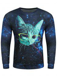 3D Starry Sky Glasses Kitten Print Long Sleeve Sweatshirt - BLUE