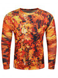 3D Maple Leaves Print Long Sleeve Crew Neck Sweatshirt