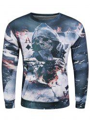 3D Devil Skeleton Poker A Print Long Sleeve Sweatshirt - GRAY