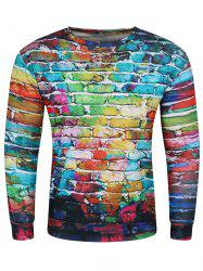 3D Doodles Wall Print Long Sleeve Crew Neck Sweatshirt - COLORMIX 3XL