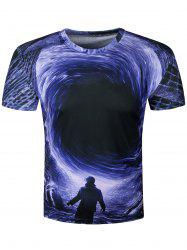 3D Disaster Eddy Hole Print Galaxy T-Shirt