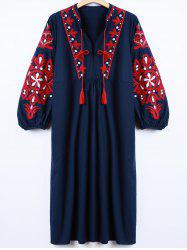 Casual Lantern Sleeve Embroidered Dress - CADETBLUE L