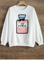 Crew Neck Perfume Bottle Patch Fleece Sweatshirt -