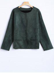 Round Neck Wool Blend Jacket