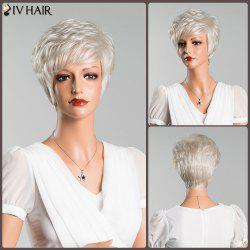 Layered Inclined Bang Short Straight Human Hair Wig -