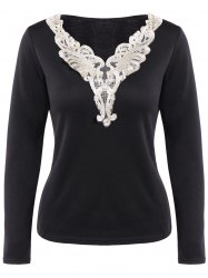 Long Sleeve Lace Panel Top -