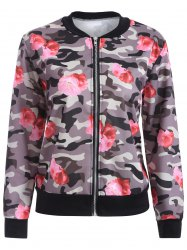 Camo Floral Print Bomber Jacket
