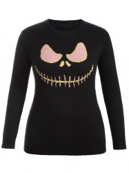 Cartoon Pattern Cute Plus Size Sweater - BLACK