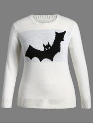 Motif Halloween Bat Plus Size Sweater - Blanc