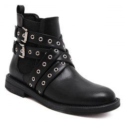 Double Buckle Eyelets Cross Straps Ankle Boots