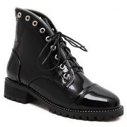 Patent Leather Eyelets Tie Up Ankle Boots