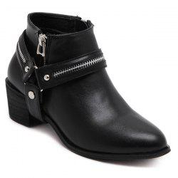 Pointed Toe Zip Metal Ankle Boots - BLACK 40