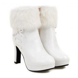 Bow Faux Fur Platform Ankle Boots - WHITE