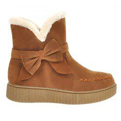 Suede Bowknot Stitching Snow Boots