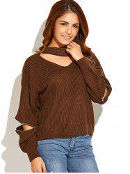 Choker Neck Zippered Sweater