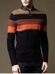 Bouton col rond design Color Block Sweater - Noir 3XL