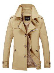 Notched Collar Epaulet Wind Coat -
