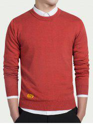 Label Embellished Round Neck Long Sleeve Sweater - RED L