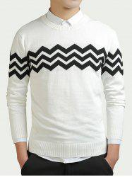 Color Block Wave Striped Long Sleeve Sweater -