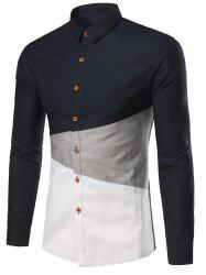 Color Block Collar plus Turn-Down Shirt Taille - Bleu Cadette