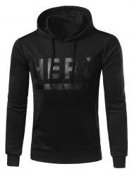 Hooded Stand Collar Letters Hero Print Hoodie - BLACK 2XL