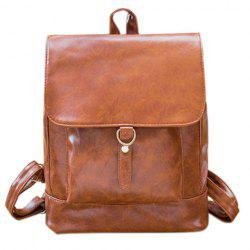 Metal Magnetic Closure PU Leather Backpack - BROWN