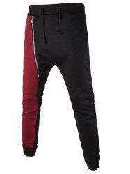 Inclined Zipper Color Splicing Beam Feet Harem Pants - BLACK 2XL
