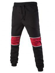 Color Splicing Drawstring Beam Feet Jogger Pants - BLACK