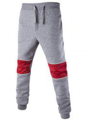 Color Splicing Drawstring Beam Feet Jogger Pants - LIGHT GRAY