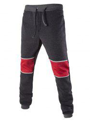 Color Splicing Drawstring Beam Feet Jogger Pants - DEEP GRAY