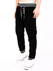 Two Tone Drawstring Cotton Jogger Pants - BLACK