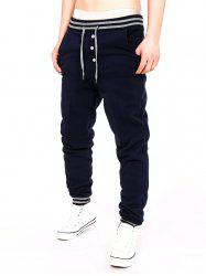 Two Tone Drawstring Cotton Jogger Pants - CADETBLUE