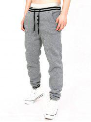 Two Tone Drawstring Cotton Jogger Pants - LIGHT GRAY