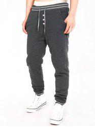 Two Tone Drawstring Cotton Jogger Pants - DEEP GRAY