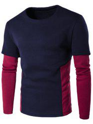 Faux Twinset Color Block Crew Neck Sweatshirt