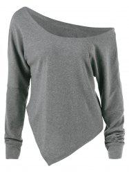 Skew Collar Drop Shoulder Asymmetrical Pullover