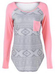 Raglan Sleeve Tribal Pattern T-Shirt -