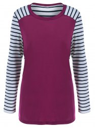 Elbow Patchwork Striped T-Shirt -