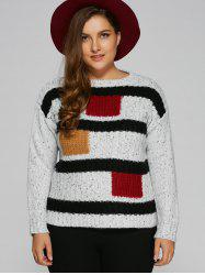 Jewel Neck Plus Size Color Block Sweater - Blanc
