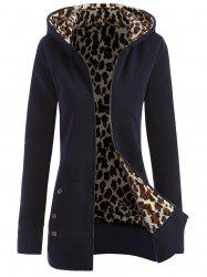 Thick Leopard Printed Inside Hoodie - GREY BLUE