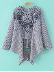 Striped Embroidered Asymmetric Blouse -