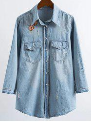 Long Sleeve Embroidered Ripped Denim Shirt