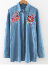 Embroidered Loose Denim Shirt