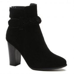 Zipper Weave Chunky Heel Ankle Boots -