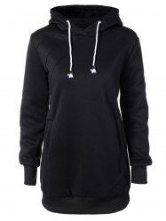 Hooded Long Sleeve Drawstring Hoodie Dress