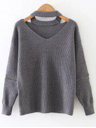 Zipper Sleeve Cut Out Choker Knitwear - GRAY ONE SIZE