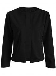 Collarless Slim  Fit Short Jacket - BLACK 2XL