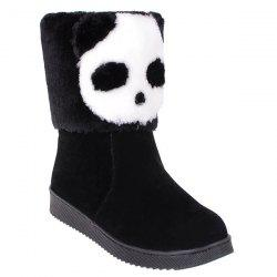 Color Block Panda Pattern Flock Snow Boots - BLACK